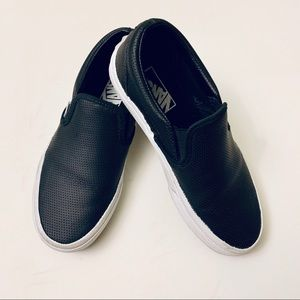 Perforated Leather Vans Slip On - 6.5